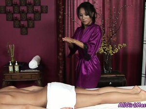 Asian masseuse gives a massage and then massages her bald slit