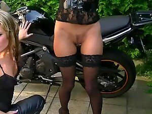 Spectacular Biker Lesbos Pissing and Toying Outdoors