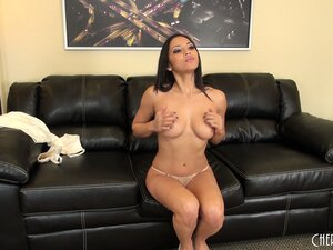 Thin brunette Adrianna Luna poses, plays with boobs and strips