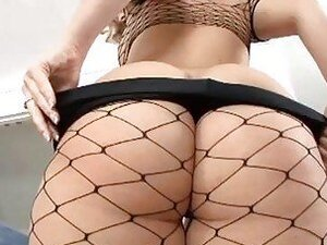Teasing pale blonde in fishnet stockings gets licked and slammed