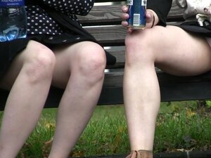 Two babes and public upskirt