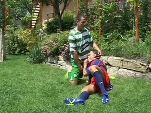 Horny bodybuider football pals make love