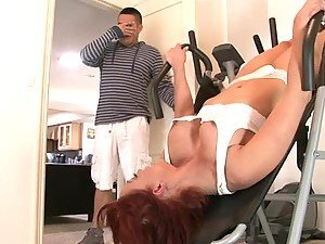 Naughty MILF gets fucked in gym by her son in law