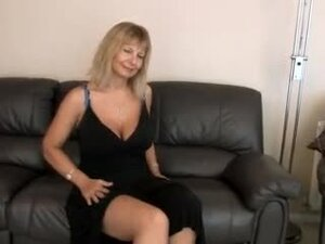 Big tit blonde mature handles hairy snatch