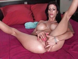 Nasty big titted MILF bitch masturbating in her bedroom