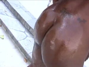 Oiled black pussy drilled hard
