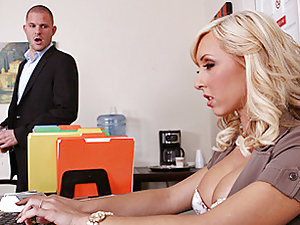 Scott is an underachieveing employee that spends his time surfing porn, playing with his webcam and checking out Mrs Lynn's huge rack. Scott decides to hook up Mrs Lynn's webcam so he can get a free peek of her juggs while day dreaming of fucking them. Mr