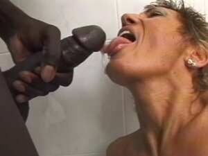 Hairy mature ass fucked by black cock