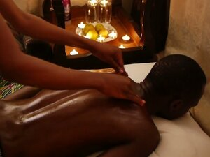 A steamy oily black african massage