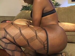 Horny black shemale in stockings