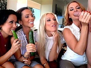 Four ladies have a blowjob party to better their sucking skills and share a guy