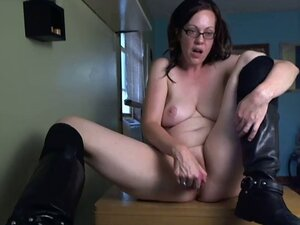 Brunette horny slut masturbates her cunt over the webcam. Homemade video.