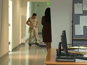 Brunette MILF India Summer Fucking The Janitor In The Workplace