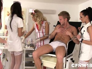 Naughty nurses in a CFNM show down, ho down as they takes advantage of his boner