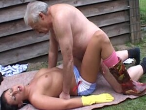 Young brunette fucking old guy