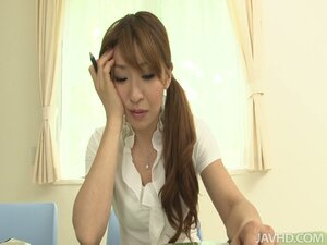 Horny asian bitch dreaming about her boss and stroking her wet twat with her toys