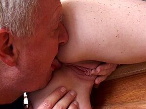 Old dick takes horny cute young redhead