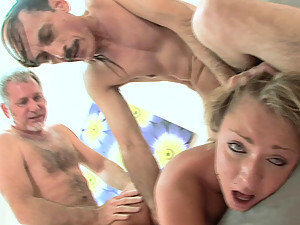 Dirty young slut fucks two old men at park.