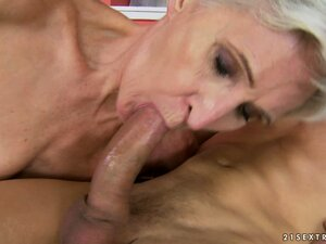 Granny gobbles up his rod and then gets drilled hard with a cumshot
