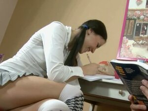 Schoolgirl with dark hair fucks her older tutor