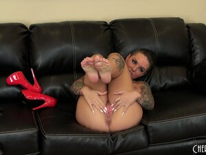 Christy Mack peels off her tight wet red panties and buries a dildo in her fanny