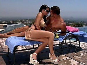 Outdoors Sex By the Pool With Horny and Beautiful Brunette Alektra Blue