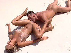 Lots of Sand in Hardcore Anal Sex Video at the Beach with Dina Pearl