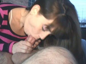 Easy milf Samantha sucking cock in the trunk of the car while her friends record it on the homemade video