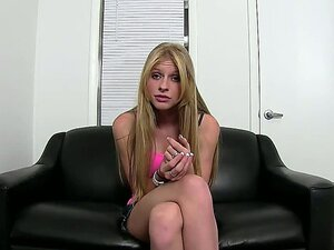 Cute innocent looking blonde lassie Avril Hall is on her first ever porn casting and she follows the instructions and slowly strips her clothes.