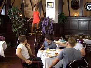 Hard cocks gangbang slut in restaurant