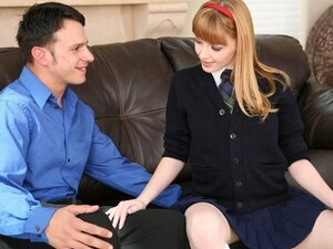 A gorgeous ginger teen comes home in her school uniform and gets sex with an oder guy