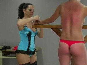 Girl in a thong flogged hard
