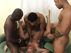 Brazen hussy with huge fuckholes gets thrusted badly in an interracial threesome fuck