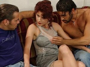 German redhead bitch fucked by two guys