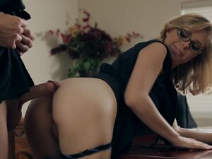 Milf housewife wearing glasses gets ass fucked