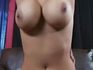 Hot brunette Latina and her big bouncing boobs