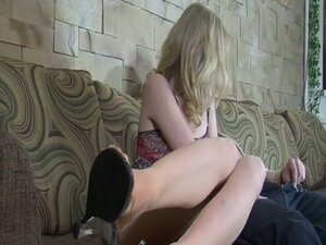 Blonde peels down her nylons to take his dick