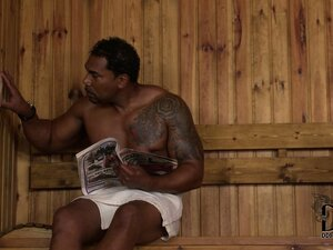 In the sauna, a sexy slender teen blonde slides a big black cock down her throat