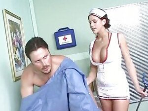 Slutty nurse Eve Lawrence bounces her big tits as she rides a stiff fuck stick