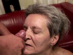 Short-haired granny Aliz sucks a dick before jumping on it crazily