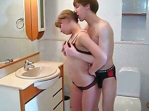 Bathroom banging hot teens in action
