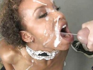 Sexy ebony made fucked and given facial