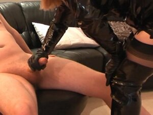 Cuckold taunted, used, milked, kinky rubber gloves