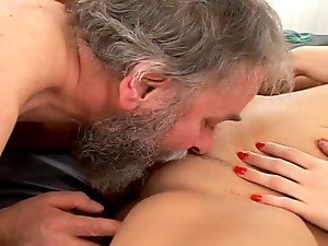 Naughty Dara having wild sex with bearded old man