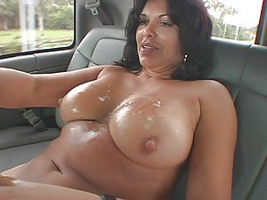 A cougar gets into a van full of guys and demands that one of them shag her