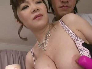 Ichika Asagiri in black and pink lingerie has her nipples toyed