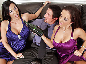 Talk about the party of party's, it's 2009 Veronica and Francesca are making out as the clock strikes twelve. Tommy has been sent by Veronica's son to drive them home safe but the two horny mother's are cock craving. So much for a little abstinence in thi
