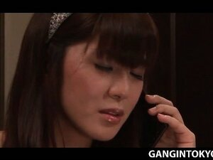 Superb Japanese girl fucked in gangbang and cum shot in face