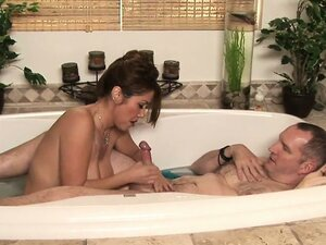 From the shower to the tub, sexy Asian babe Kianna sucks his long dong