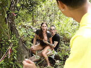 A big boobed beautiful brunette hussy gets her fuck on in the woods with a stranger
